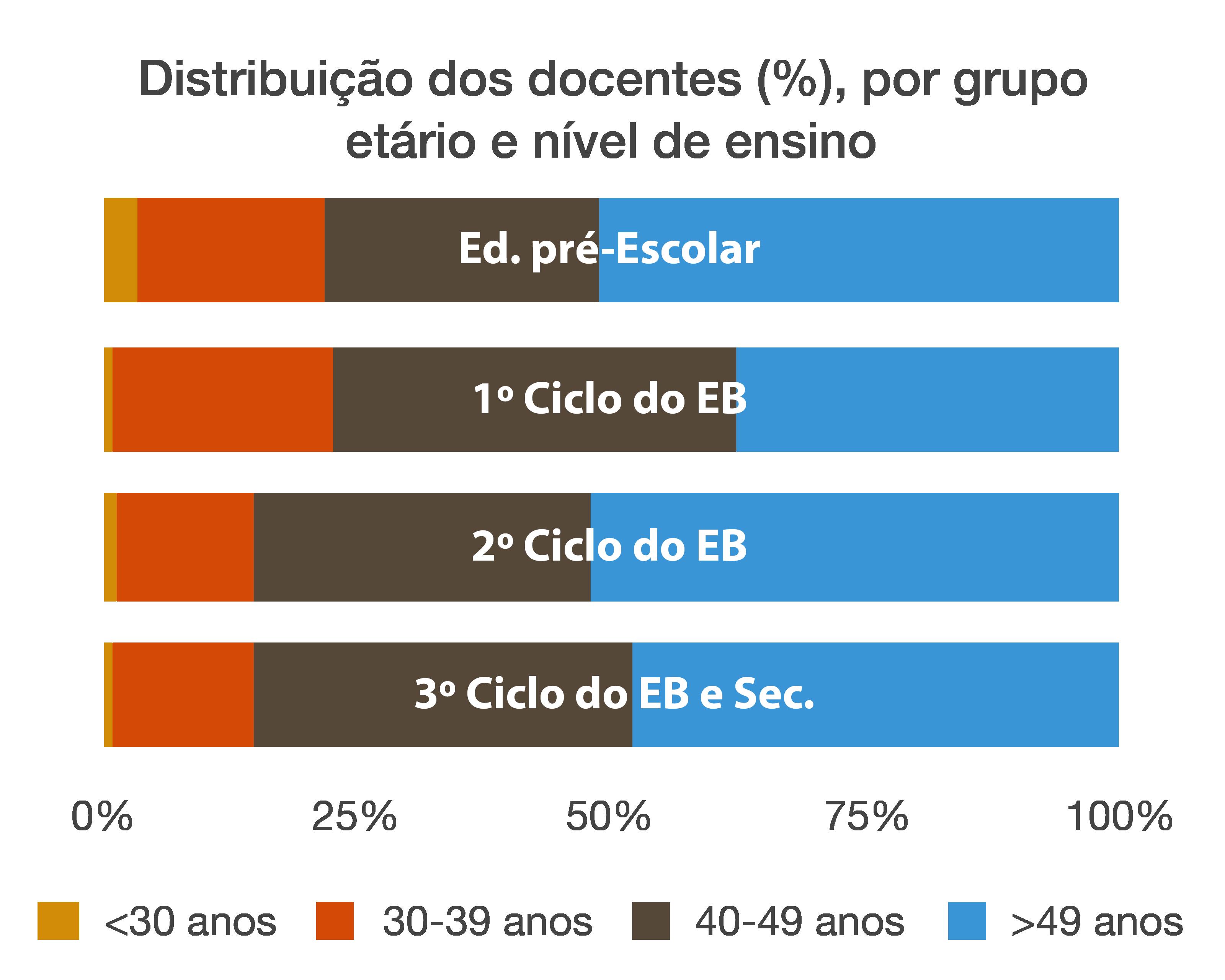 Distribuição dos docentes (%), por grupo etário e nível de ensino.